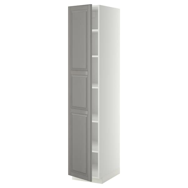 METOD High cabinet with shelves, white/Bodbyn grey, 40x60x200 cm