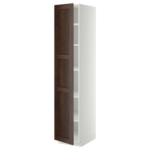 METOD High cabinet with shelves, white/Edserum brown, 40x60x200 cm