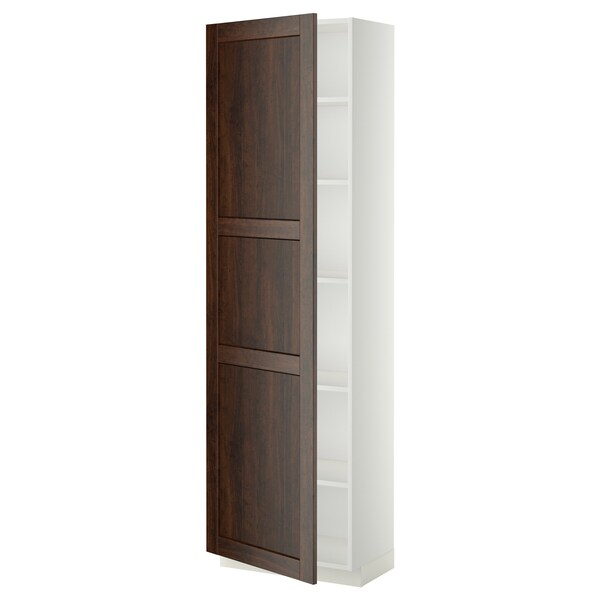 METOD High cabinet with shelves, white/Edserum brown, 60x37x200 cm