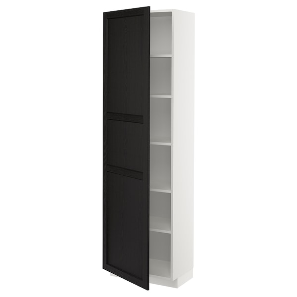 METOD High cabinet with shelves, white/Lerhyttan black stained, 60x37x200 cm