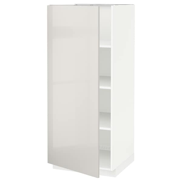 METOD High cabinet with shelves, white/Ringhult light grey, 60x60x140 cm
