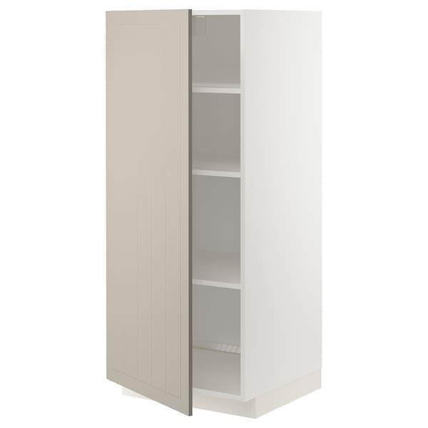 METOD High cabinet with shelves, white/Stensund beige, 60x60x140 cm