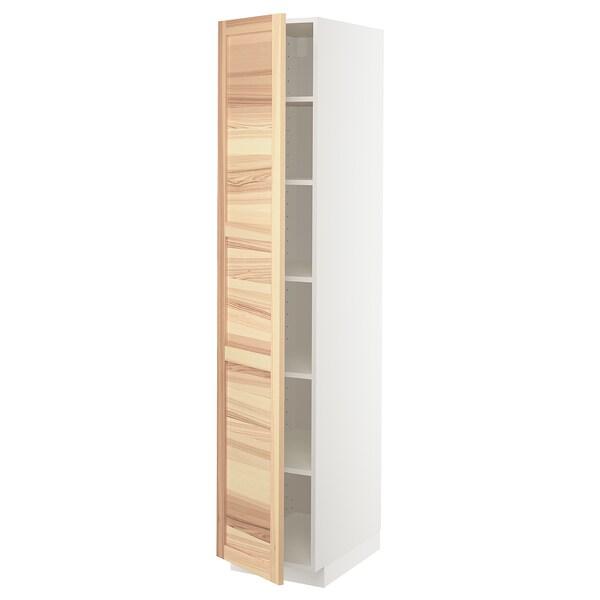 METOD High cabinet with shelves, white/Torhamn ash, 40x60x200 cm