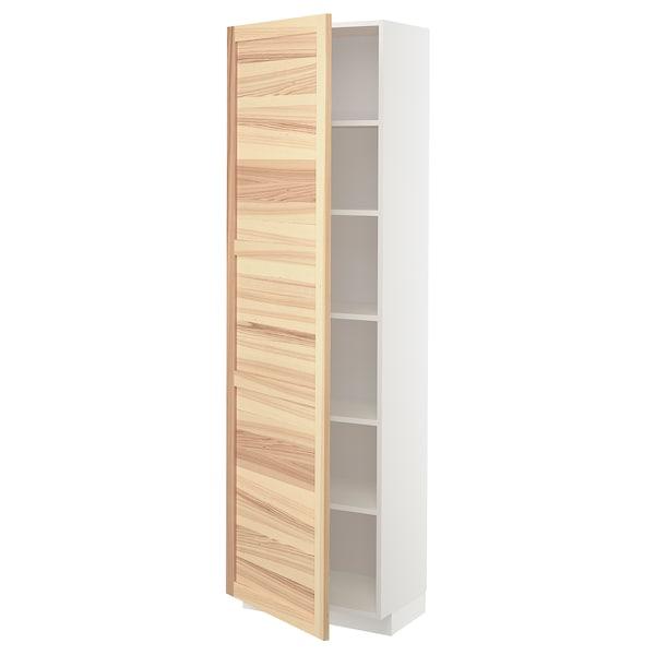 METOD High cabinet with shelves, white/Torhamn ash, 60x37x200 cm
