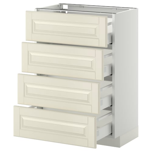 METOD / MAXIMERA base cab 4 frnts/4 drawers white/Bodbyn off-white 60.0 cm 39.5 cm 88.0 cm 37.0 cm 80.0 cm