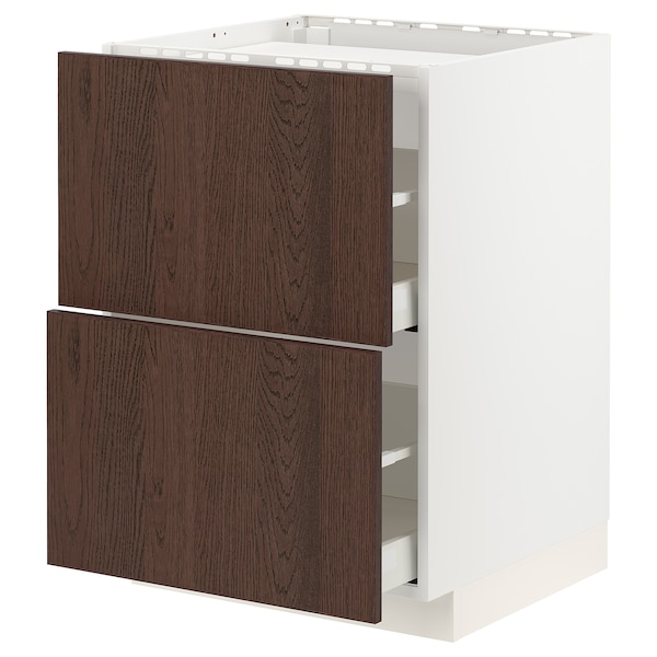 METOD / MAXIMERA Base cab f hob/2 fronts/2 drawers, white/Sinarp brown, 60x60 cm