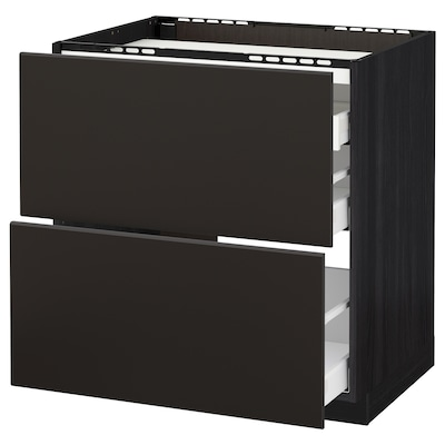 METOD / MAXIMERA Base cab f hob/2 fronts/3 drawers, black/Kungsbacka anthracite, 80x60 cm