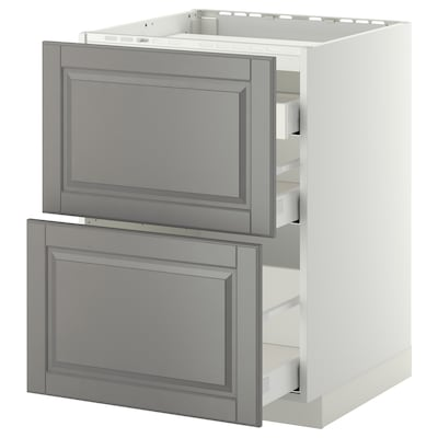METOD / MAXIMERA Base cab f hob/2 fronts/3 drawers, white/Bodbyn grey, 60x60 cm