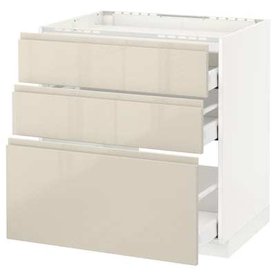 METOD / MAXIMERA Base cab f hob/3 fronts/3 drawers, white/Voxtorp high-gloss light beige, 80x60 cm