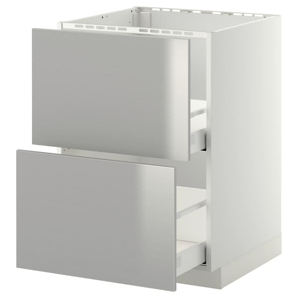 METOD / MAXIMERA base cab f sink+2 fronts/2 drawers white/Grevsta stainless steel 60.0 cm 61.8 cm 88.0 cm 60.0 cm 80.0 cm