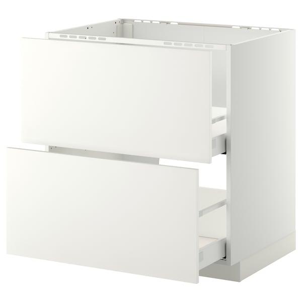 METOD / MAXIMERA base cab f sink+2 fronts/2 drawers white/Häggeby white 80.0 cm 61.6 cm 88.0 cm 60.0 cm 80.0 cm