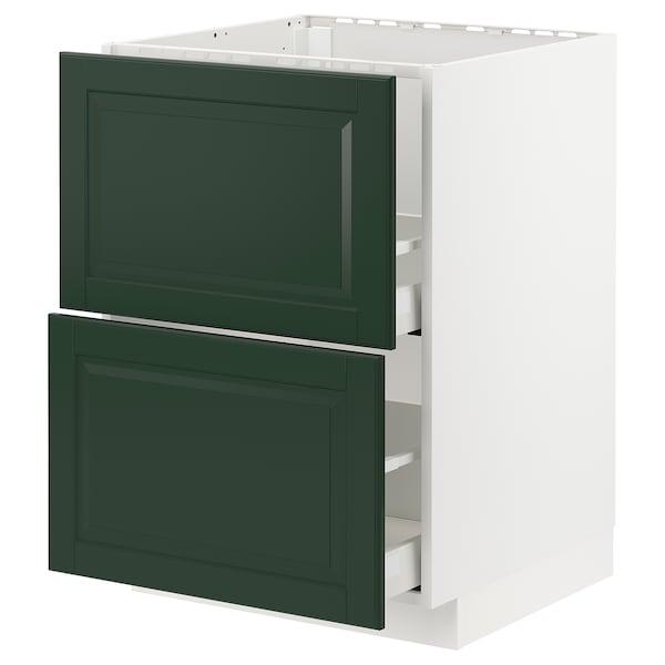 METOD / MAXIMERA base cab f sink+2 fronts/2 drawers white/Bodbyn dark green 60.0 cm 61.9 cm 88.0 cm 60.0 cm 80.0 cm