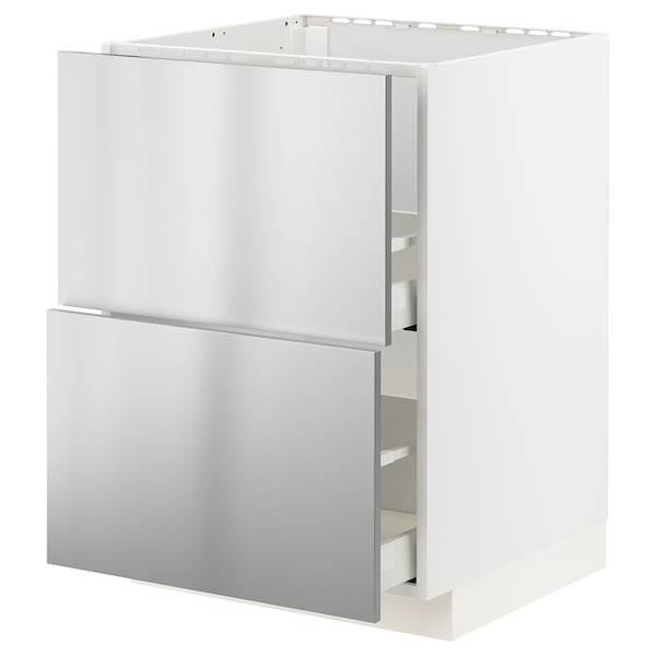 METOD / MAXIMERA base cab f sink+2 fronts/2 drawers white/Vårsta stainless steel 60.0 cm 61.6 cm 88.0 cm 60.0 cm 80.0 cm