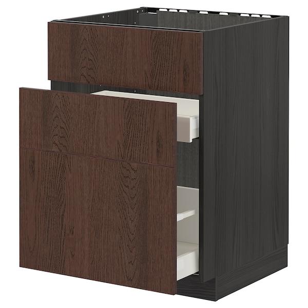 METOD / MAXIMERA Base cab f sink+3 fronts/2 drawers, black/Sinarp brown, 60x60 cm