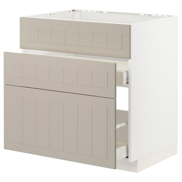 METOD / MAXIMERA Base cab f sink+3 fronts/2 drawers, white/Stensund beige, 80x60 cm