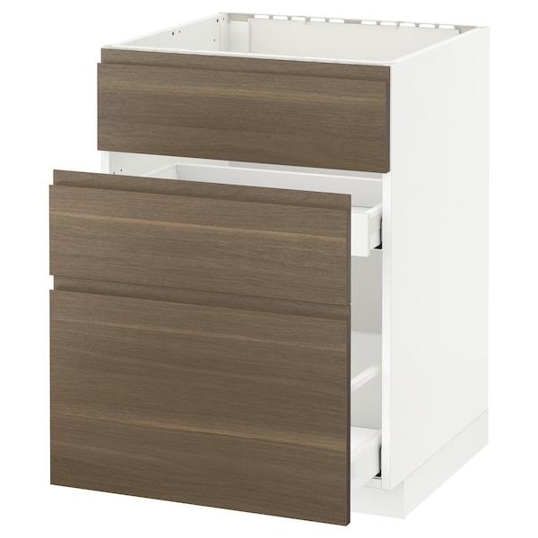 METOD / MAXIMERA Base cab f sink+3 fronts/2 drawers, white/Voxtorp walnut, 60x60 cm