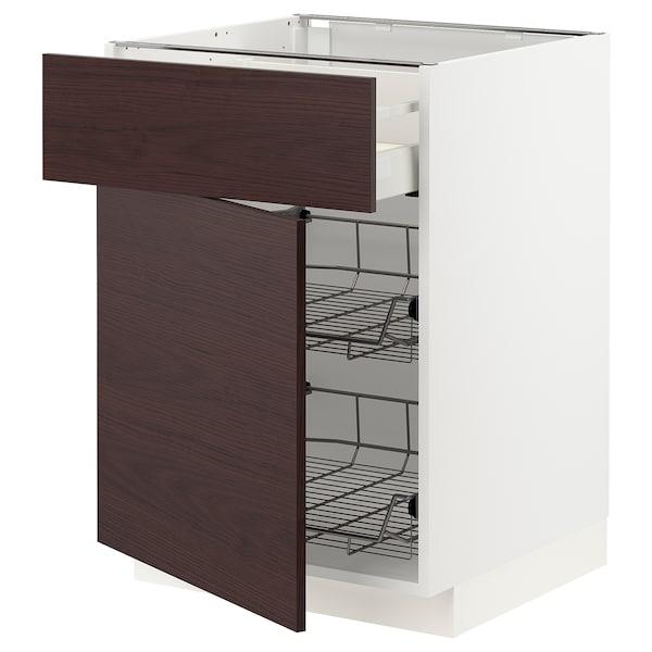 METOD / MAXIMERA Base cab w wire basket/drawer/door, white Askersund/dark brown ash effect, 60x60 cm