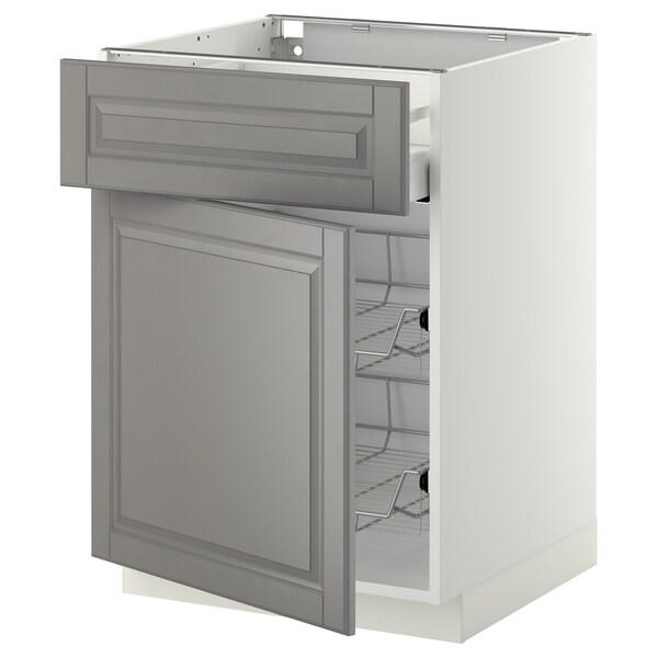 METOD / MAXIMERA Base cab w wire basket/drawer/door, white/Bodbyn grey, 60x60 cm