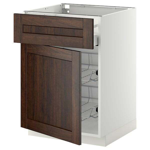 METOD / MAXIMERA Base cab w wire basket/drawer/door, white/Edserum brown, 60x60 cm