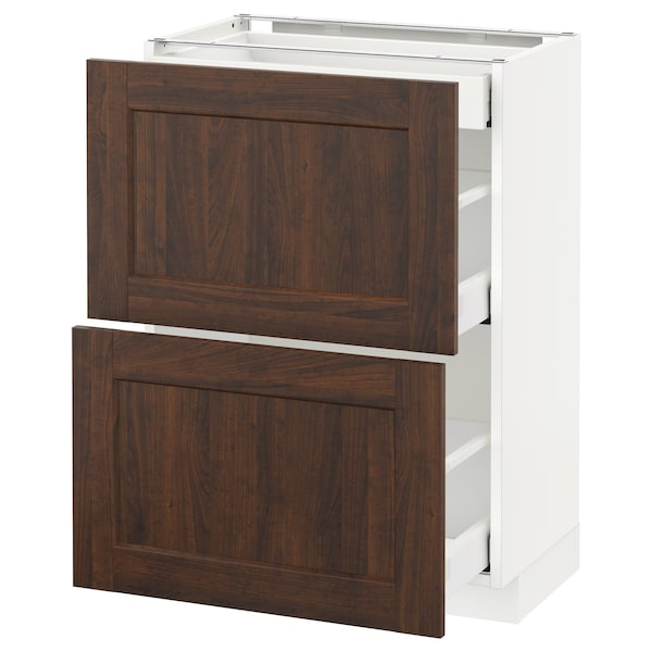 METOD / MAXIMERA Base cab with 2 fronts/3 drawers, white/Edserum brown, 60x37 cm