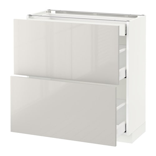 Metod Maximera Base Cab With 2 Fronts 3 Drawers White Ringhult Light Grey