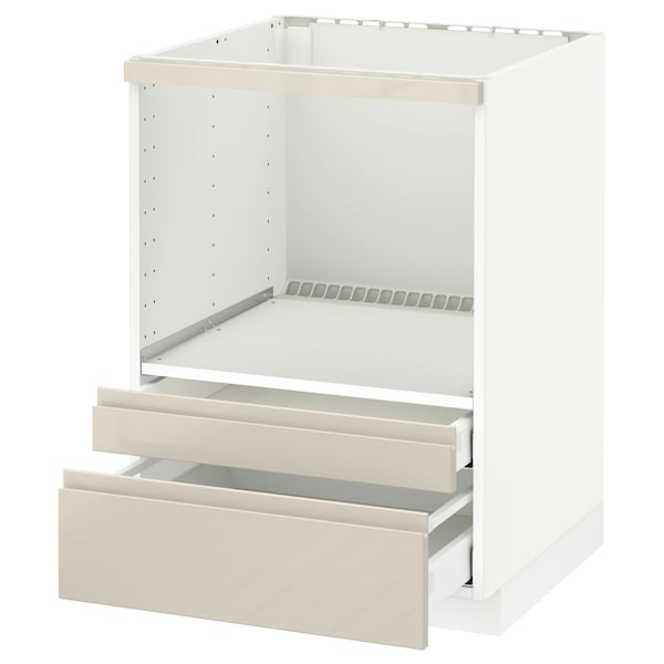 METOD / MAXIMERA Base cabinet f combi micro/drawers, white/Voxtorp high-gloss light beige, 60x60 cm