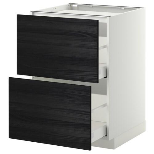 METOD / MAXIMERA base cab f hob/2 fronts/2 drawers white/Tingsryd black 60.0 cm 61.6 cm 88.0 cm 60.0 cm 80.0 cm