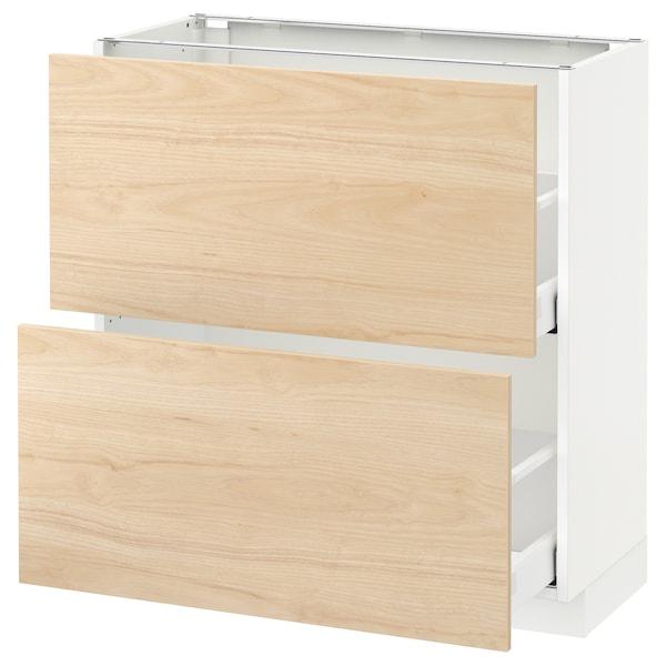 METOD / MAXIMERA base cabinet with 2 drawers white/Askersund light ash effect 80.0 cm 39.2 cm 88.0 cm 37.0 cm 80.0 cm