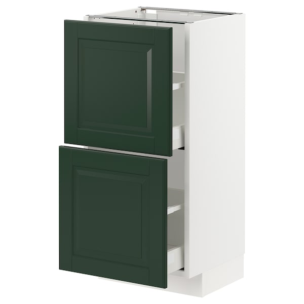 METOD / MAXIMERA Base cabinet with 2 drawers, white/Bodbyn dark green, 40x37 cm