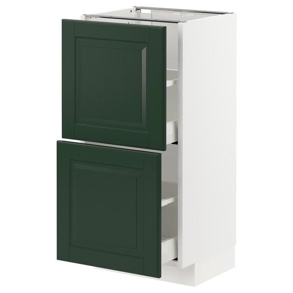 METOD / MAXIMERA خزانة أساسية مع درجين, أبيض/Bodbyn أخضر غامق, 40x37 سم