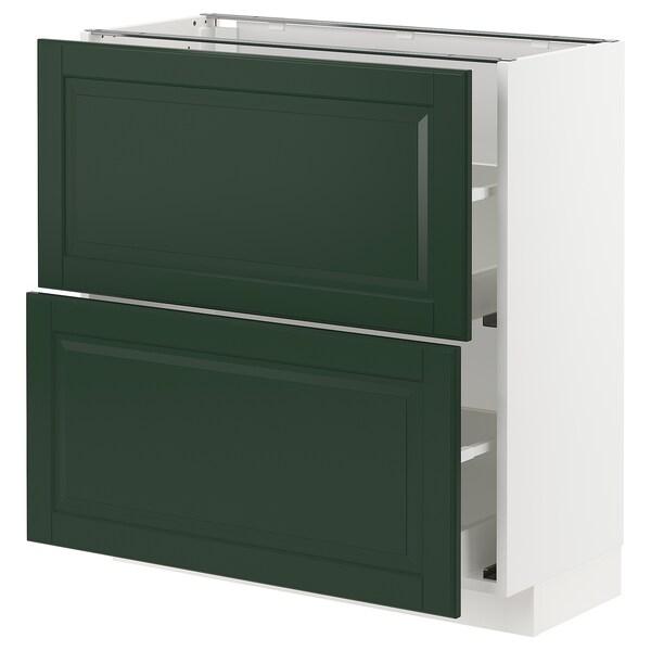 METOD / MAXIMERA base cabinet with 2 drawers white/Bodbyn dark green 80.0 cm 39.5 cm 88.0 cm 37.0 cm 80.0 cm