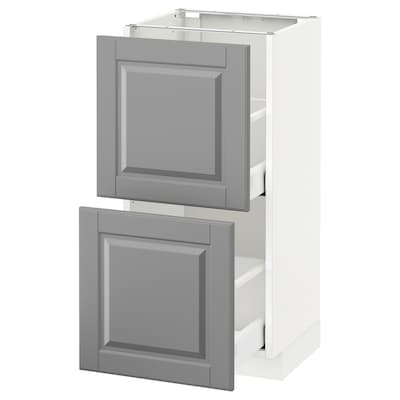 METOD / MAXIMERA خزانة أساسية مع درجين, أبيض/Bodbyn رمادي, 40x37 سم