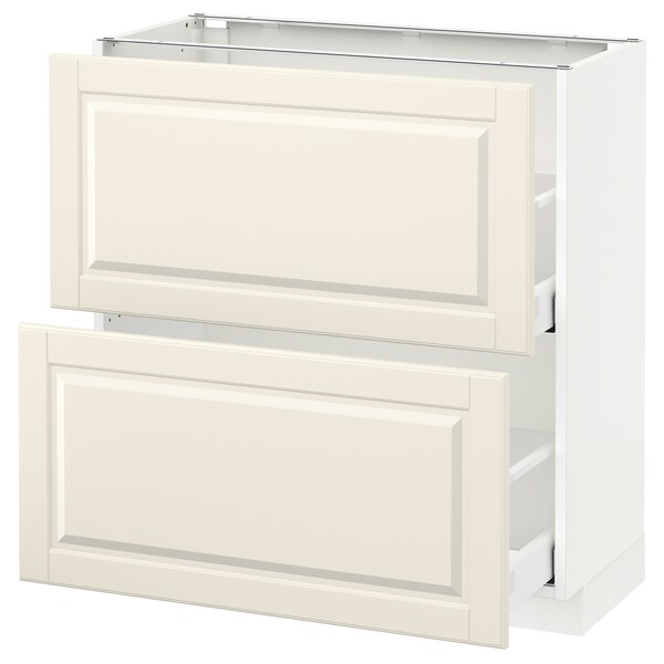 METOD / MAXIMERA base cabinet with 2 drawers white/Bodbyn off-white 80.0 cm 39.5 cm 88.0 cm 37.0 cm 80.0 cm