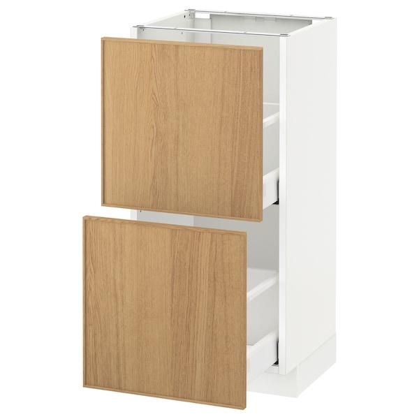 METOD / MAXIMERA خزانة أساسية مع درجين, أبيض/Ekestad سنديان, 40x37 سم