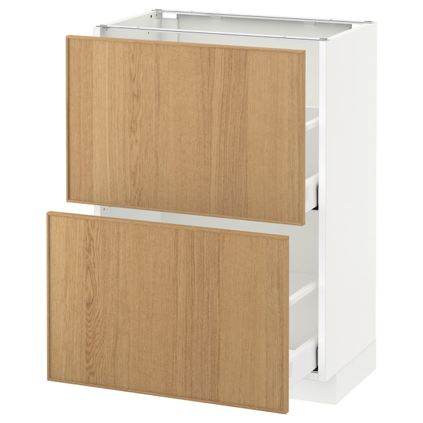 METOD / MAXIMERA Base cabinet with 2 drawers, white/Ekestad oak, 60x37 cm