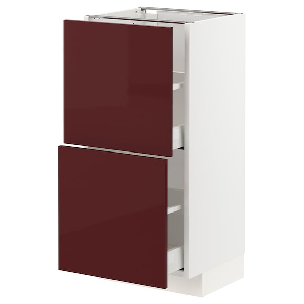 METOD / MAXIMERA خزانة أساسية مع درجين, أبيض Kallarp/لامع أحمر-بني غامق, 40x37 سم