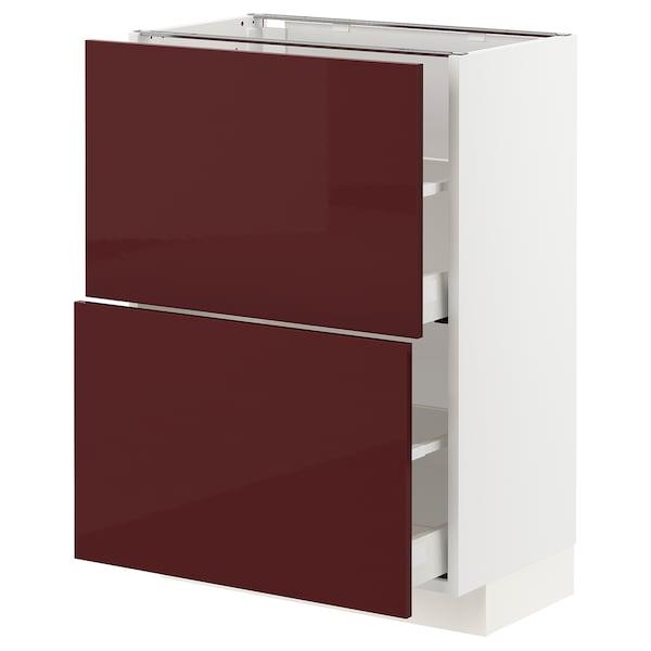 METOD / MAXIMERA خزانة أساسية مع درجين, أبيض Kallarp/لامع أحمر-بني غامق, 60x37 سم