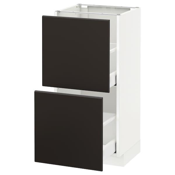 METOD / MAXIMERA خزانة أساسية مع درجين, أبيض/Kungsbacka فحمي, 40x37 سم