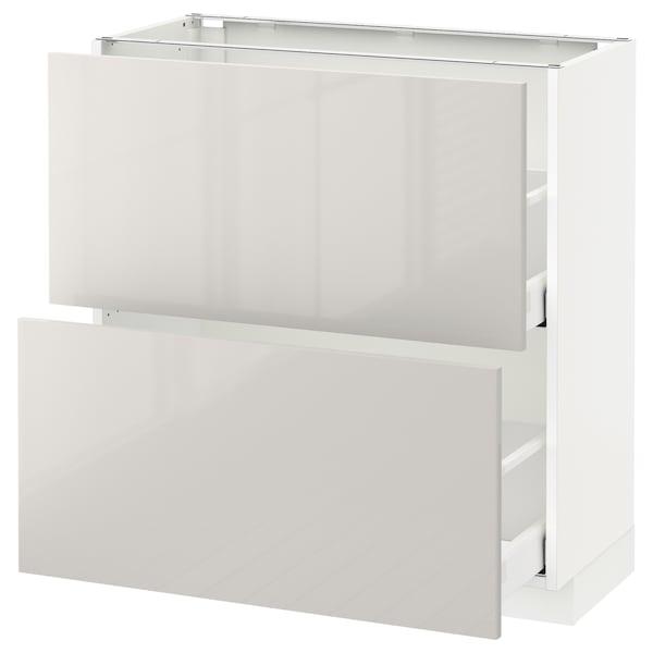 METOD / MAXIMERA base cabinet with 2 drawers white/Ringhult light grey 80.0 cm 39.4 cm 88.0 cm 37.0 cm 80.0 cm