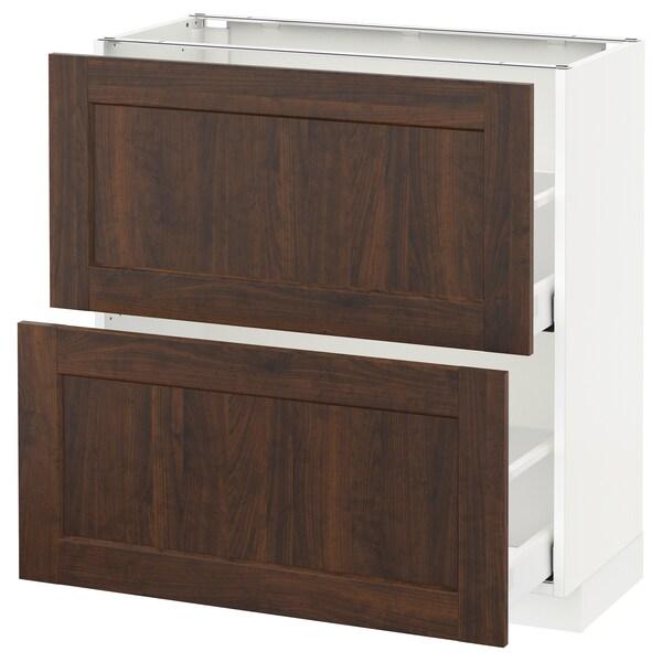 METOD / MAXIMERA base cabinet with 2 drawers white/Edserum brown 80.0 cm 39.4 cm 88.0 cm 37.0 cm 80.0 cm