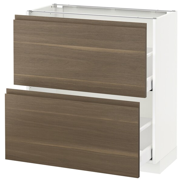 METOD / MAXIMERA base cabinet with 2 drawers white/Voxtorp walnut 80.0 cm 39.1 cm 88.0 cm 37.0 cm 80.0 cm