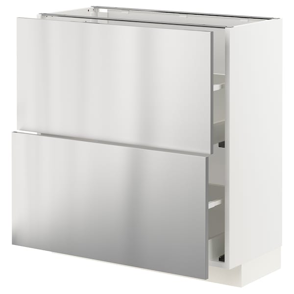 METOD / MAXIMERA base cabinet with 2 drawers white/Vårsta stainless steel 80.0 cm 39.2 cm 88.0 cm 37.0 cm 80.0 cm