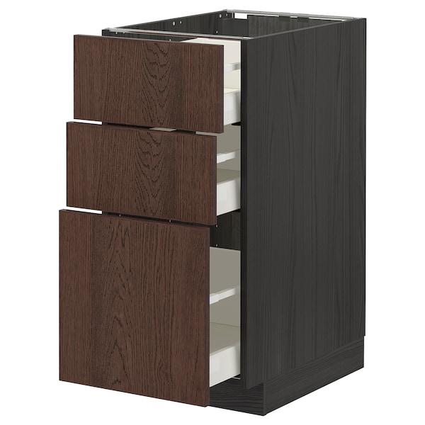 METOD / MAXIMERA Base cabinet with 3 drawers, black/Sinarp brown, 40x60 cm