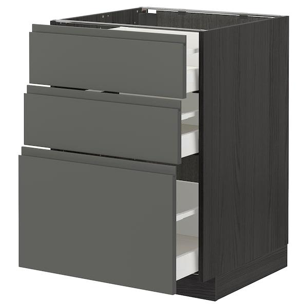METOD / MAXIMERA خزانة أساسية مع 3 أدراج, أسود/Voxtorp رمادي غامق, 60x60 سم