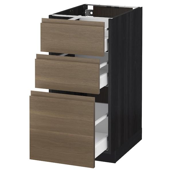 METOD / MAXIMERA خزانة أساسية مع 3 أدراج, أسود/Voxtorp شجرة الجوز, 40x60 سم