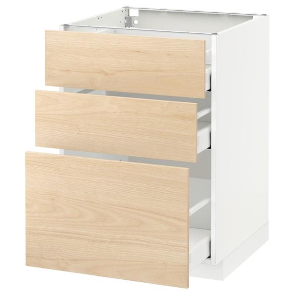 METOD / MAXIMERA خزانة أساسية مع 3 أدراج, أبيض/Askersund مظهر دردار خفيف, 60x60 سم