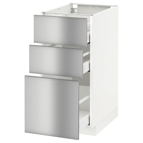 METOD / MAXIMERA base cabinet with 3 drawers white/Grevsta stainless steel 40.0 cm 61.8 cm 88.0 cm 60.0 cm 80.0 cm