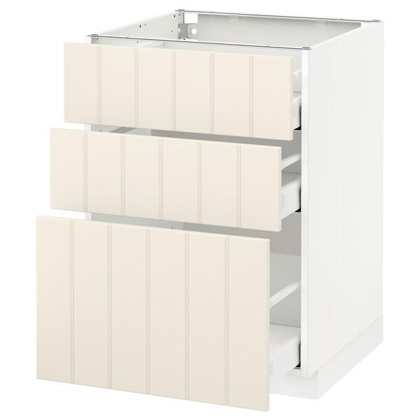 METOD / MAXIMERA خزانة أساسية مع 3 أدراج, أبيض/Hittarp أبيض-عاجي, 60x60 سم