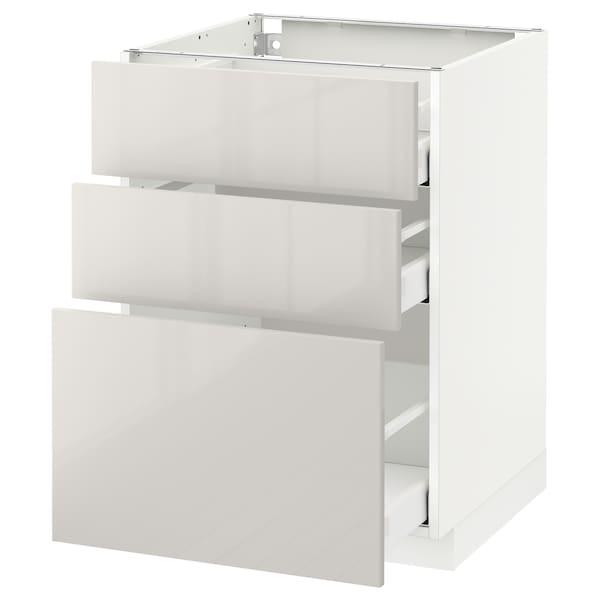 METOD / MAXIMERA خزانة أساسية مع 3 أدراج, أبيض/Ringhult رمادي فاتح, 60x60 سم