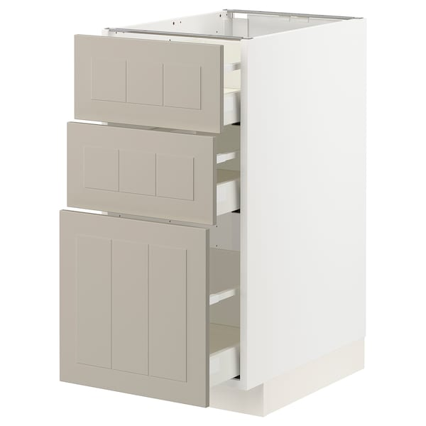 METOD / MAXIMERA Base cabinet with 3 drawers, white/Stensund beige, 40x60 cm